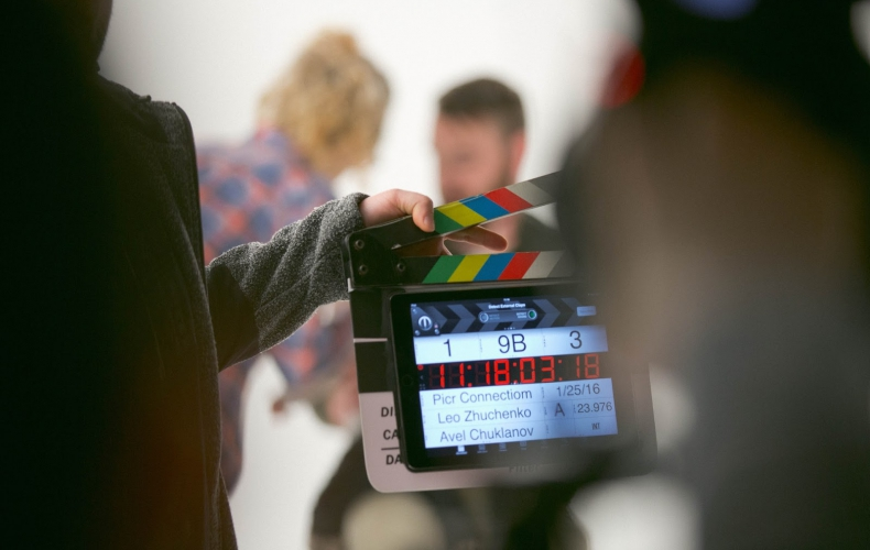 A film set. All talent involved in a film or photography shoot need to sign a talent release form.
